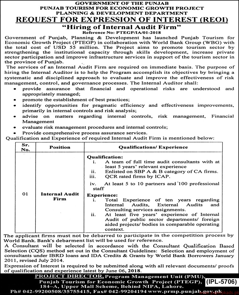 Government of Punjab - Planning and Development Department Jobs 2018