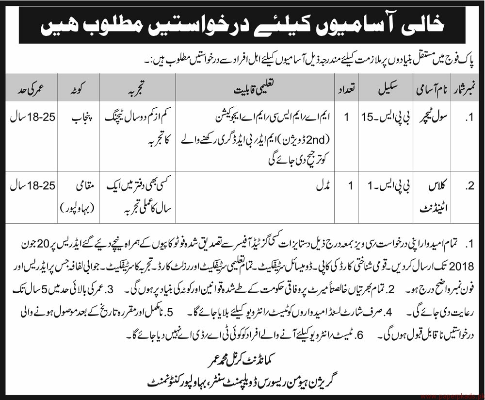 Jobs in Pakistan Army 2018 Latest Jobs