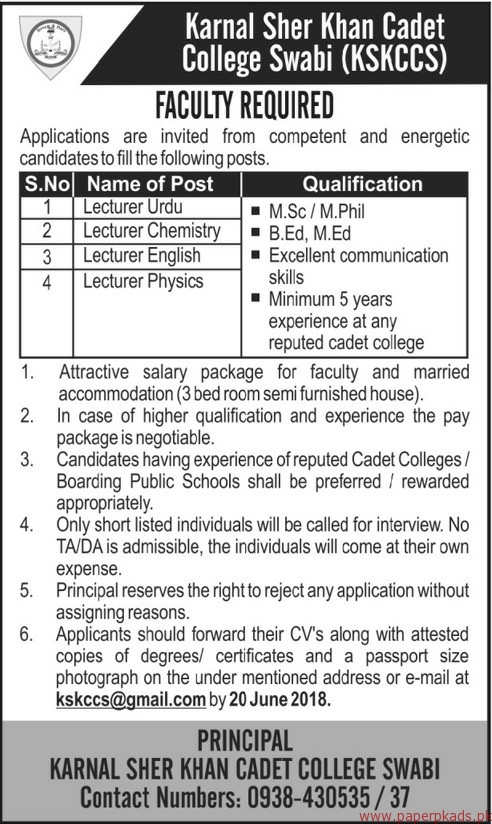 Karnal Sher Khan Cadet College Swabi Jobs 2018