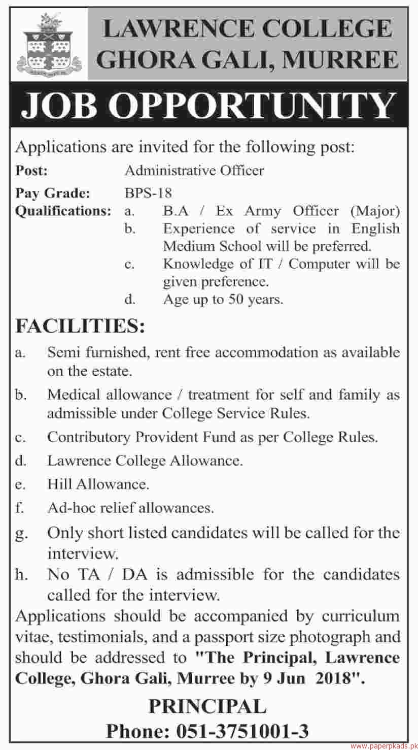 Lawrence College Ghora Gali Murree Jobs 2018 Latest