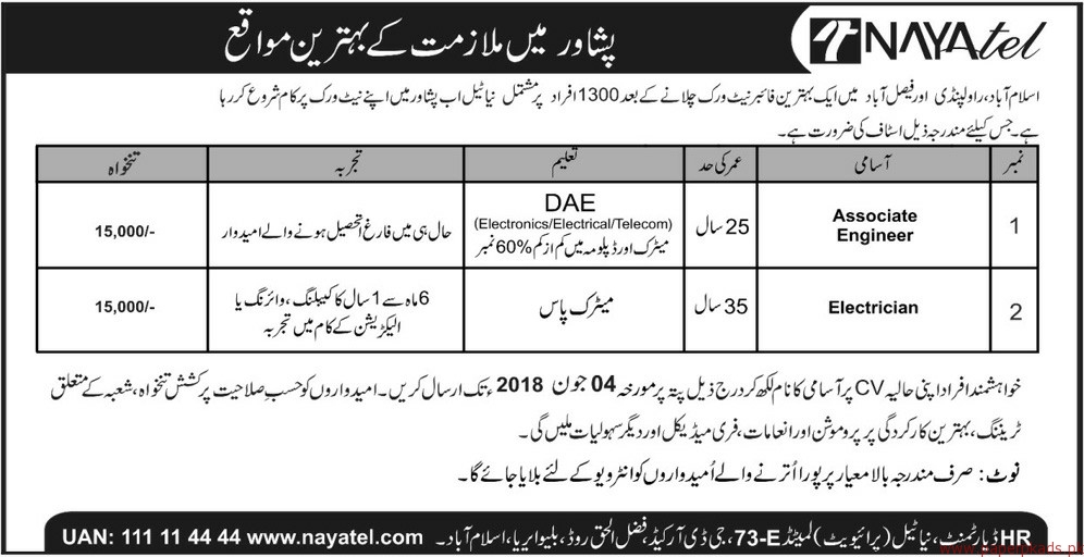 Nayatel Fiber Network Jobs 2018 Latest