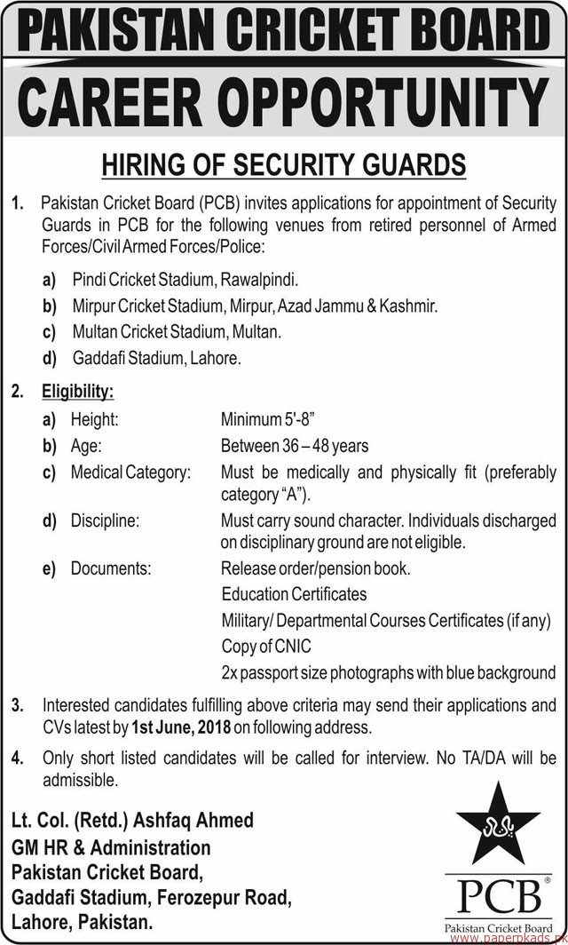Pakistan Cricket Board Jobs 2018 Latest