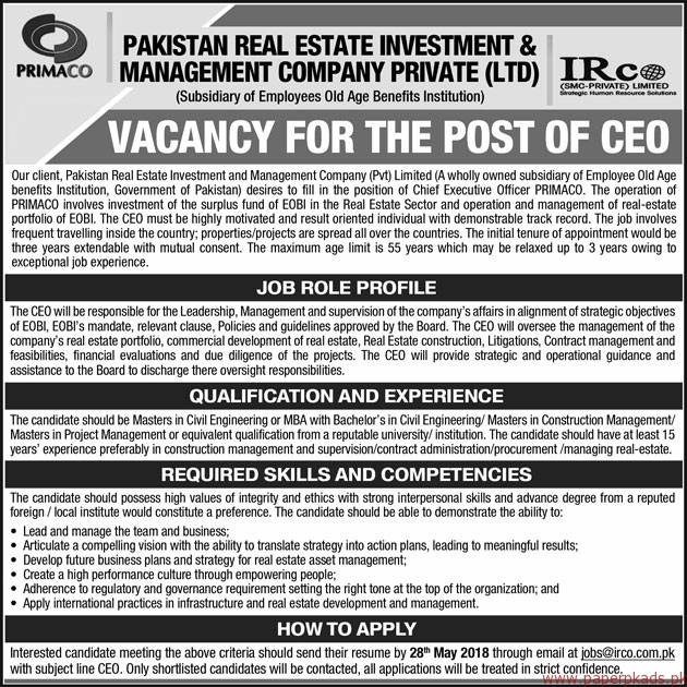 Pakistan Real Estate Investment & Management Company Private Limited Jobs 2018 Latest