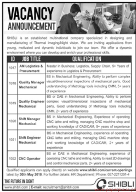 SHIBLI Multinational Company Jobs 2018