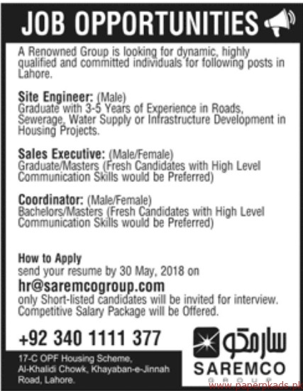 Saremco Group Staff Required