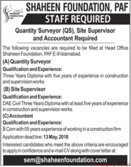 Shaheen Foundation PAF Jobs 2018 Latest