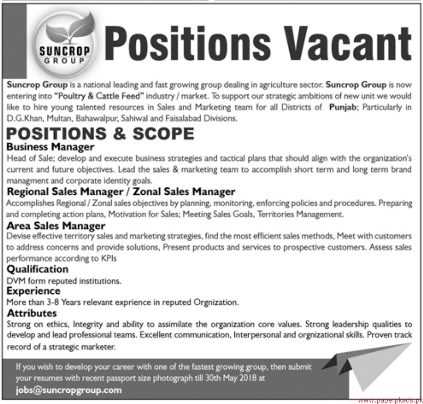 Suncrop Group Staff Required