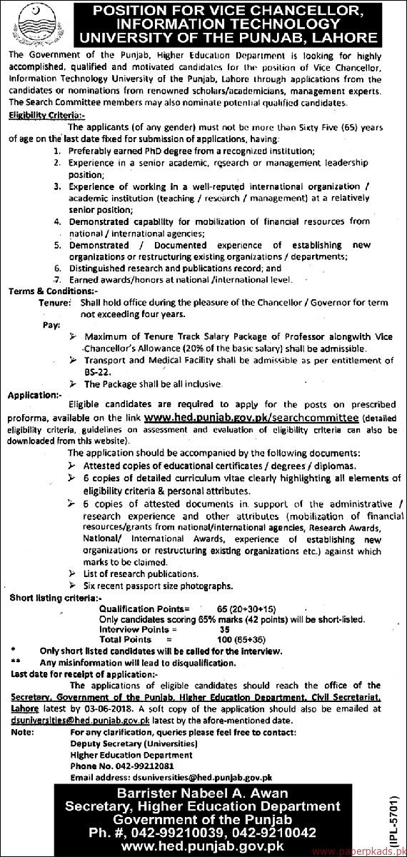 The Government of the Punjab - Higher Education Department Jobs 2018 Latest