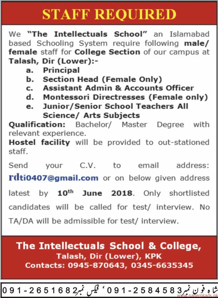 The Intellectuals School Jobs 2018 Latest