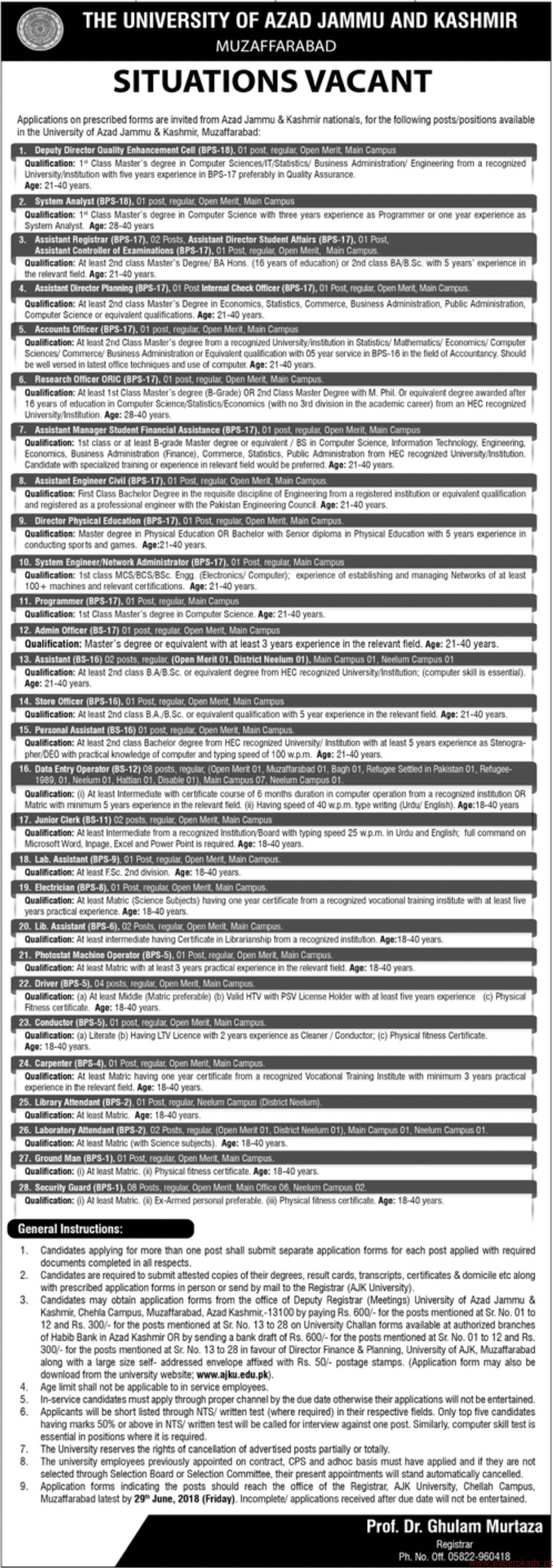 The University of Azad Jammu & kashmir Jobs 2018 Latest
