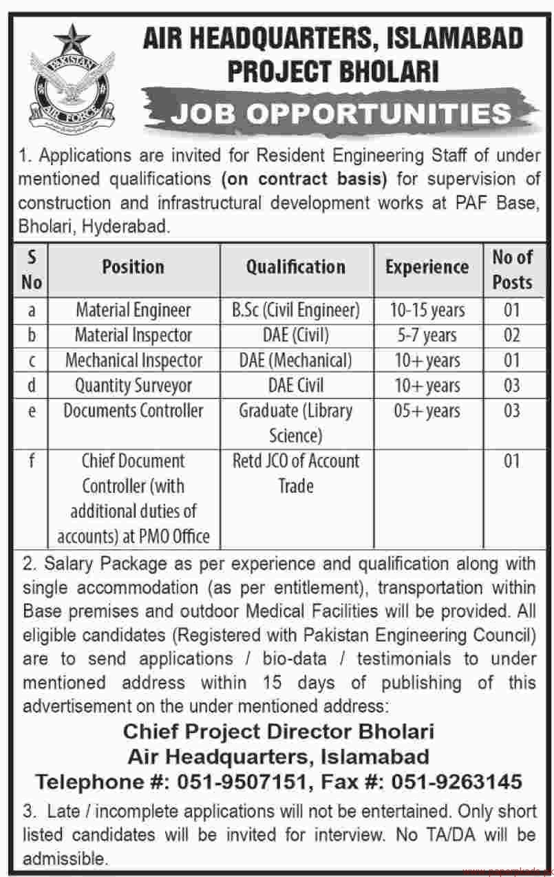 Air Headquarters Islamabad Jobs 2018 Latest
