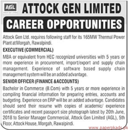 Attock Gen Limited Jobs 2018