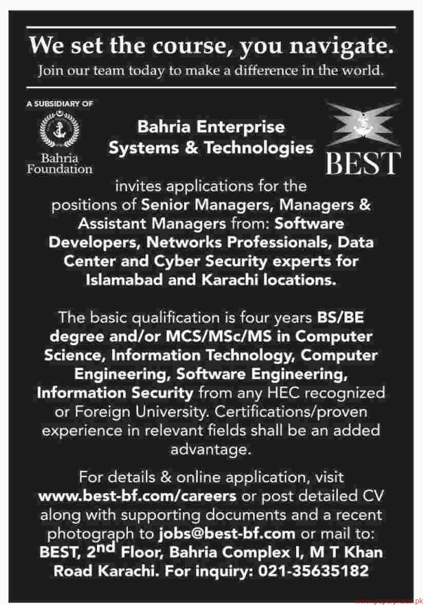 Bahria Foundation jobs 2018 Latest