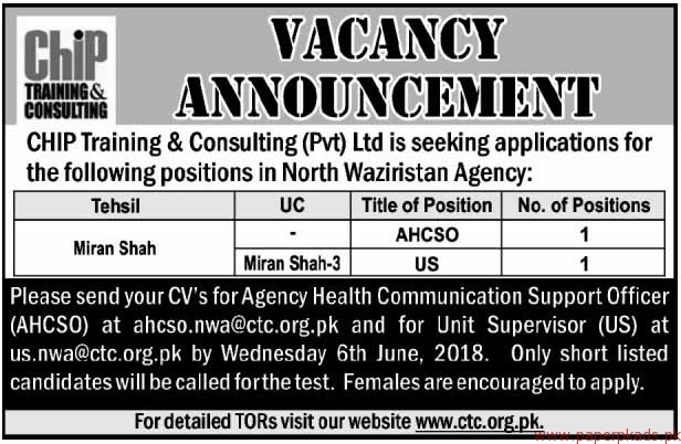 CHIP Training & Consulting Private Limited Jobs 2018 Latest Jobs 2