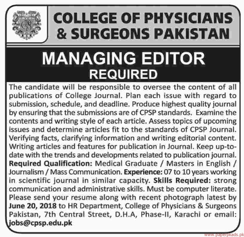 College of Physicians & Surgeons Pakistan Jobs 2018