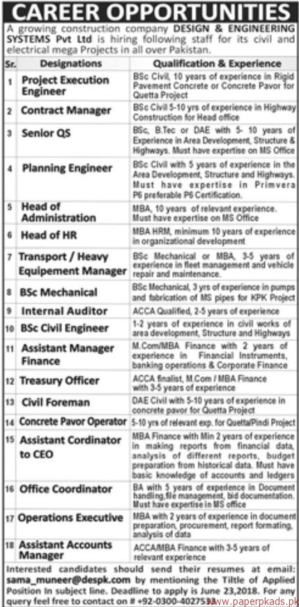 Design Engineering Systems Private Limited Jobs 2018 Paperads Com