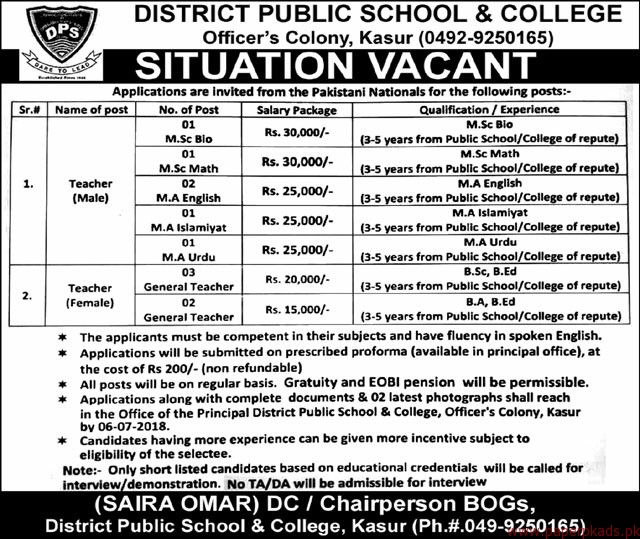 District Public School & College Jobs 2018 Latest