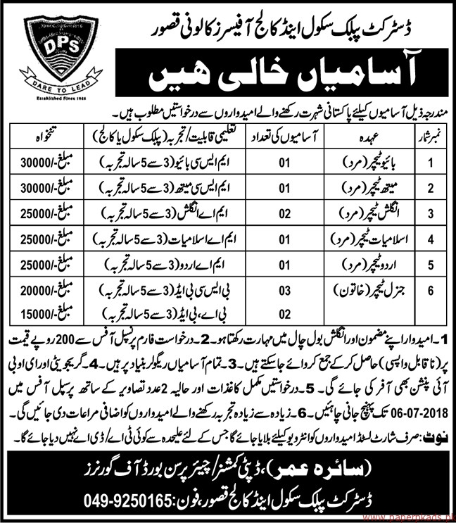 District Public School and College Jobs 2018 Latest Jobs