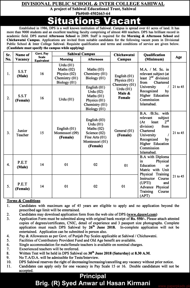 Divisional Public School & Inter College Sahiwal Jobs 2018 Latest Jobs