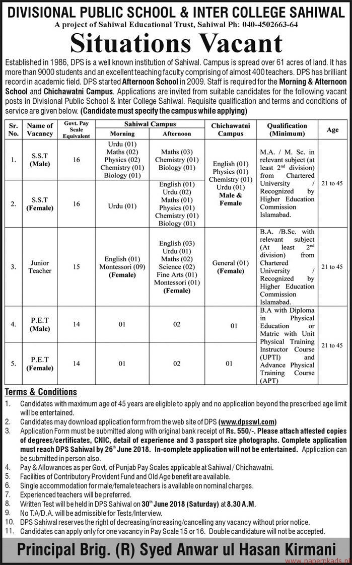 Divisional Public School & Inter College Sahiwal Jobs 2018
