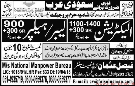 Electricians Labours and Helpers Jobs in Suadi Arabia