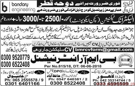 Electronic Technicians Required for QATAR
