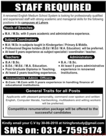 English Medium School System Jobs 2018