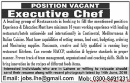 Executive Chef Required