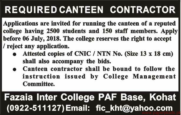 Fazaia Inter College PAF Base Jobs 2018