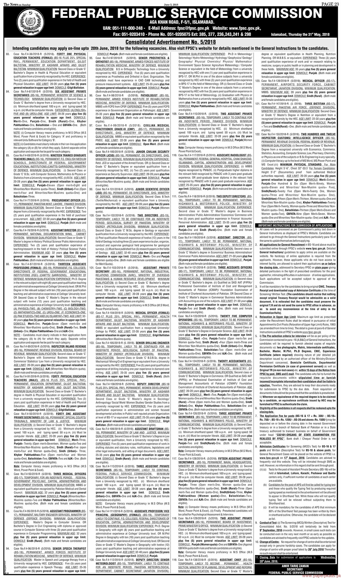 Federal Public Service Commission jobs 2018 Latest