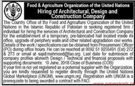 Food & Agriculture Organization Jobs 2018