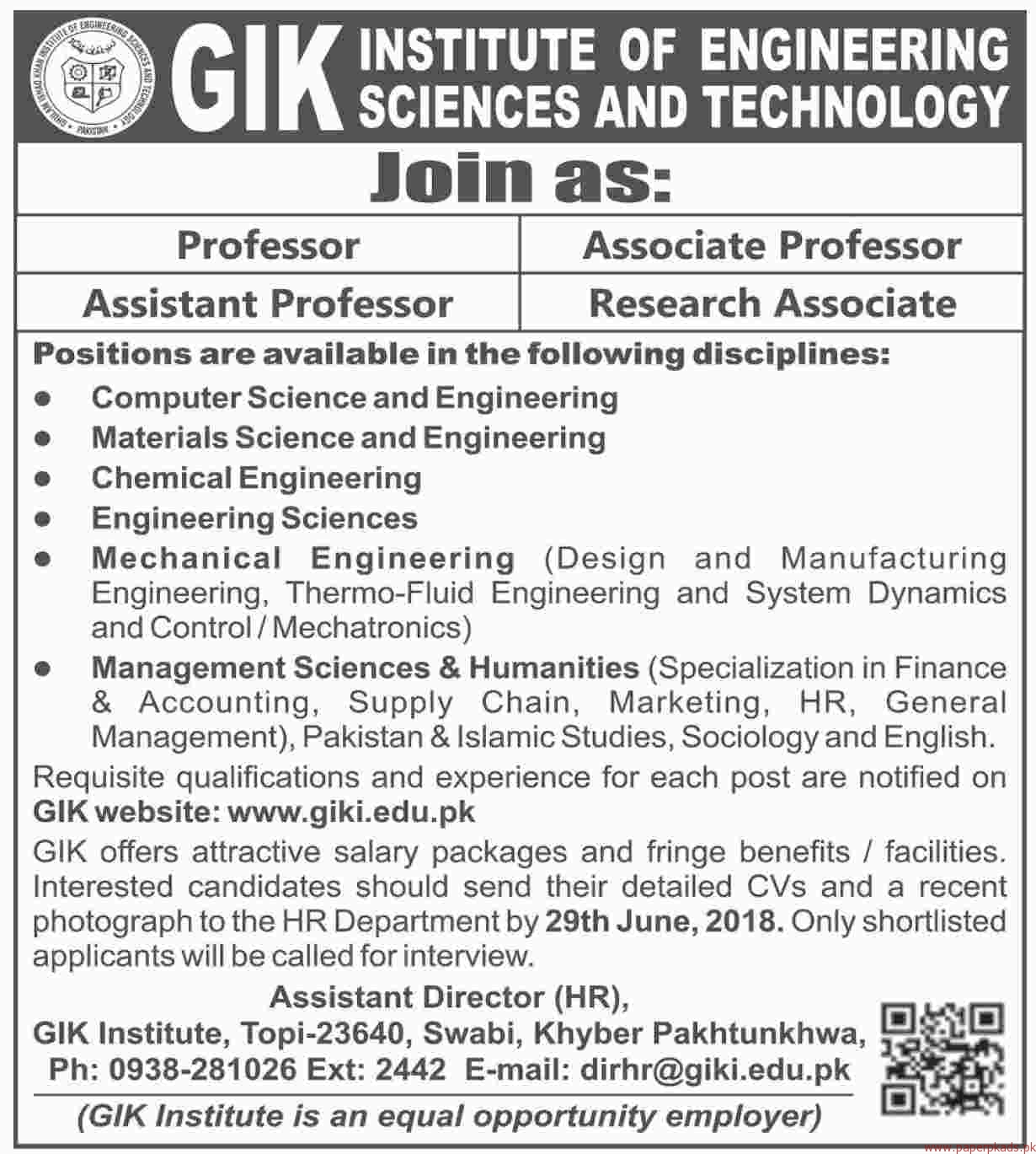 GIK Institute of Engineering Sciences and Technology Jobs 2018