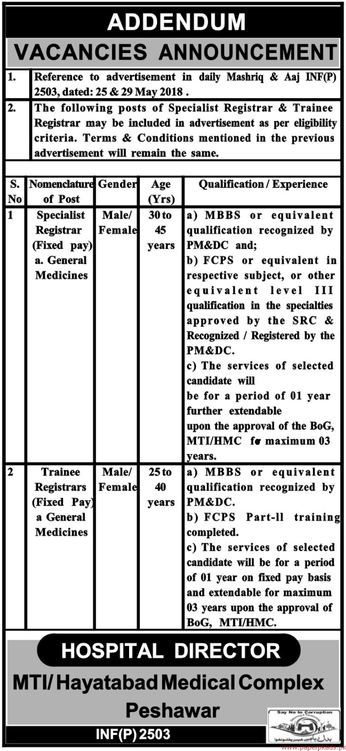 Hayatabad Medical Complex Jobs 2018 Latest