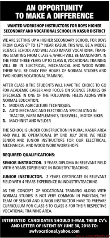 Higher Secondary and Vocational School Jobs 2018