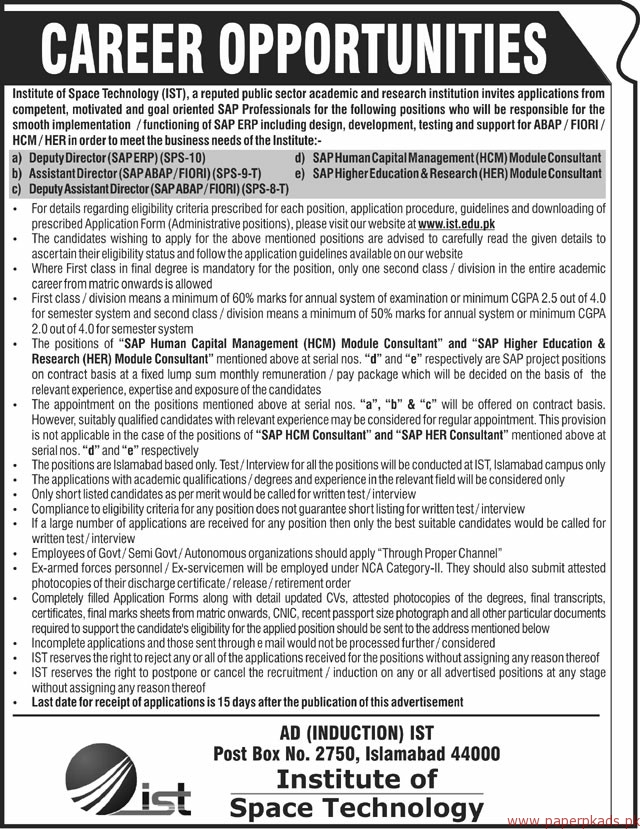 Institute of Space Technology IST Jobs 2018 Latest