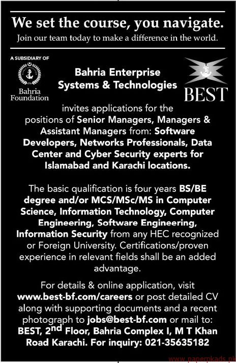 Jobs in Bahria Enterprise Systems & Technologies (BEST) 2018 Latest
