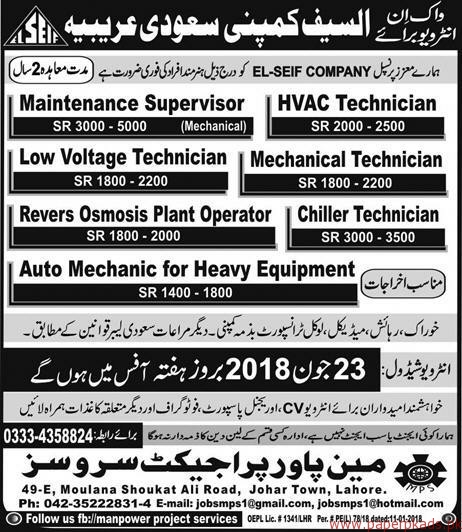 Maintenance Supervisor HVAC Technicians and Other Jobs in Saudi Arabia