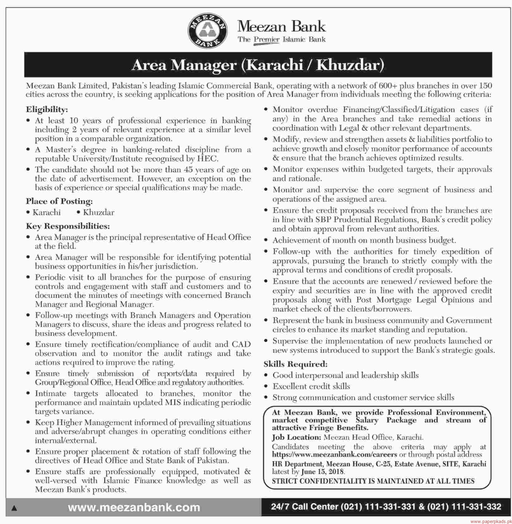 Meezan Bank Limited Pakistan Jobs 2018