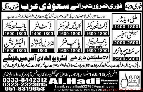 Multi Welders Safety Officer Supervisors and Other Jobs in Saudi Arabia