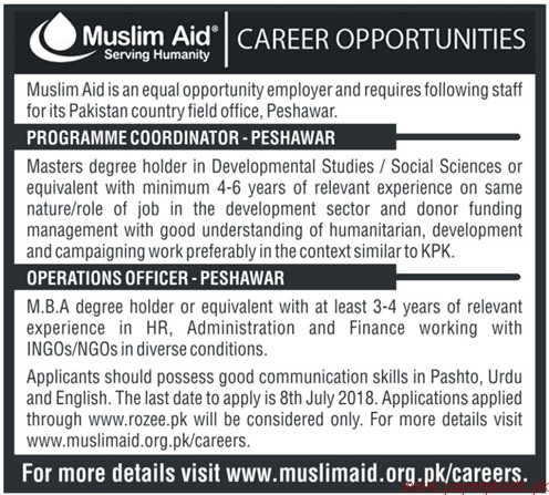 Muslim Aid Serving Humanity NGO Jobs 2018