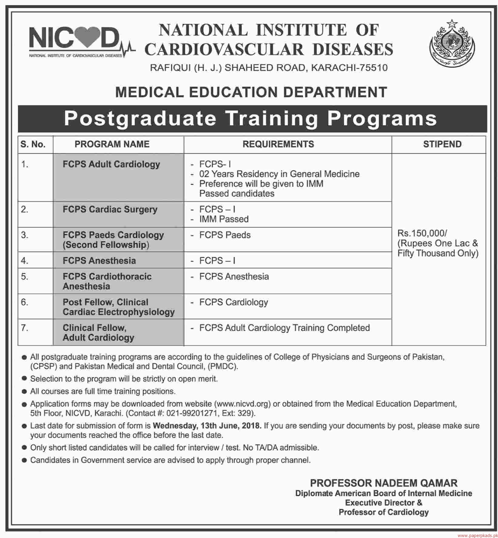 National Institute of Cardiovascular Diseases Jobs 2018
