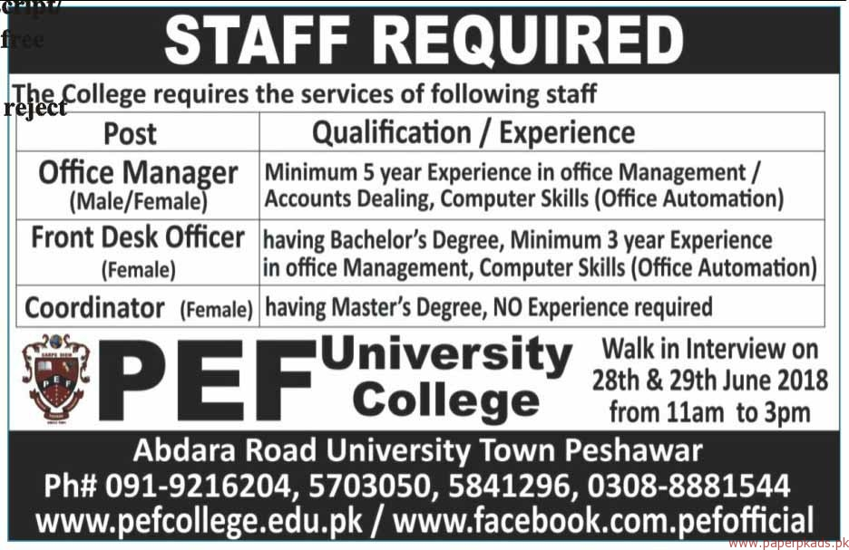 PEF University College Jobs 2018 Latest