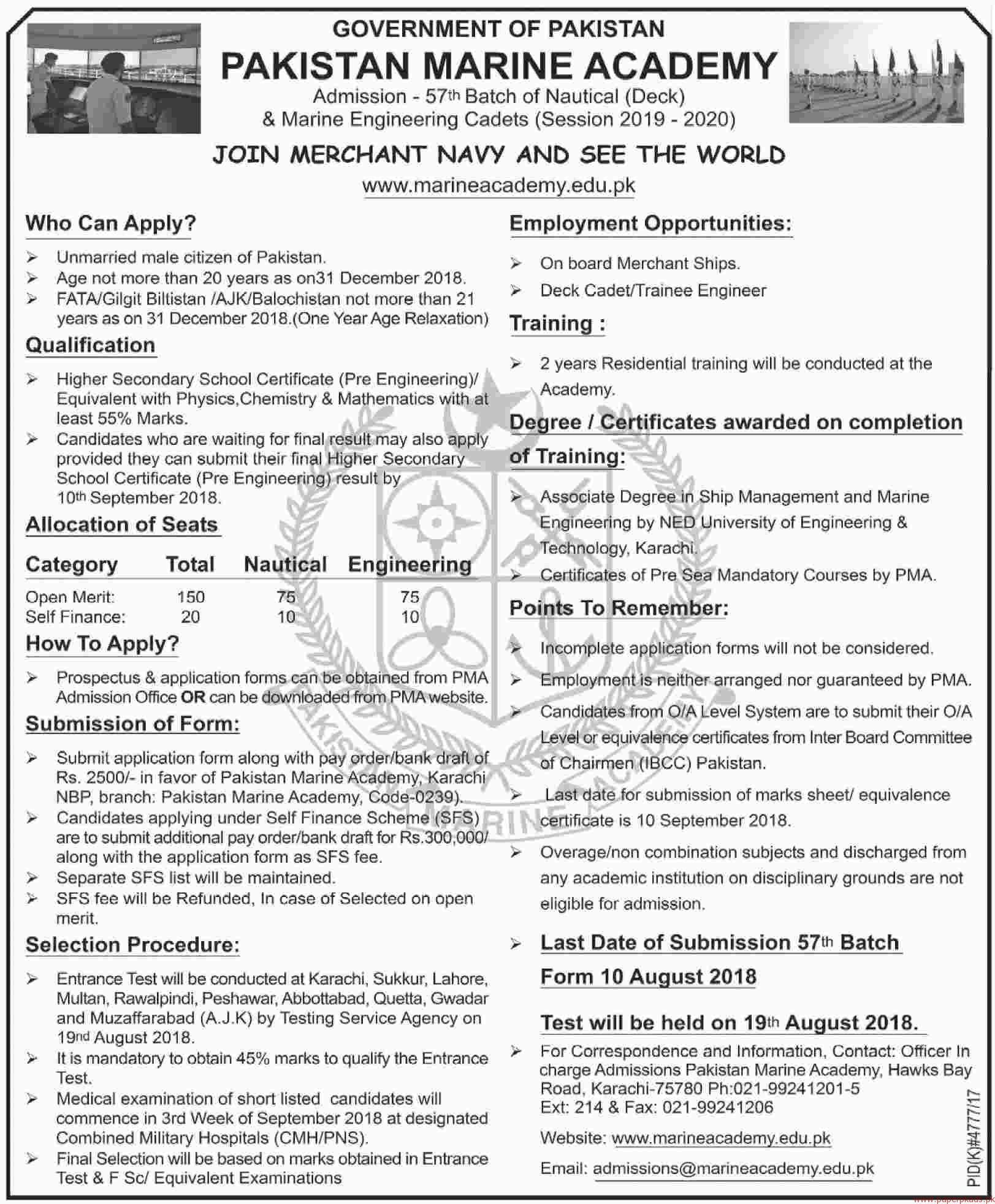Pakistan Marine Academy Jobs 2018 Latest