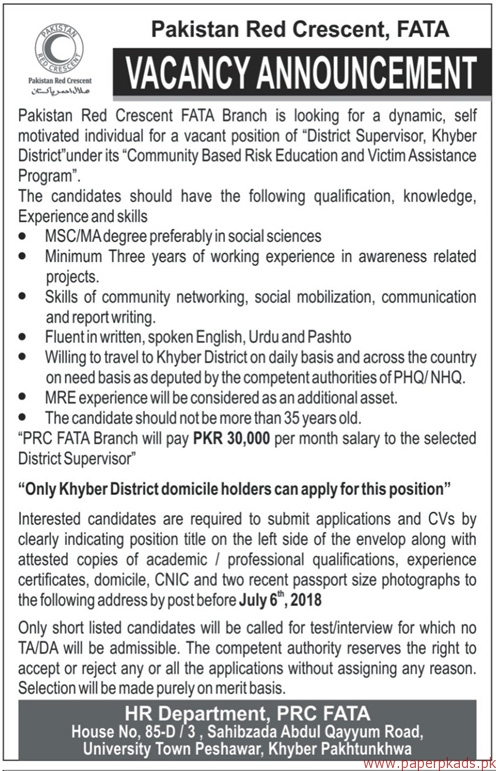 Pakistan Red Crescent Jobs 2018 Latest