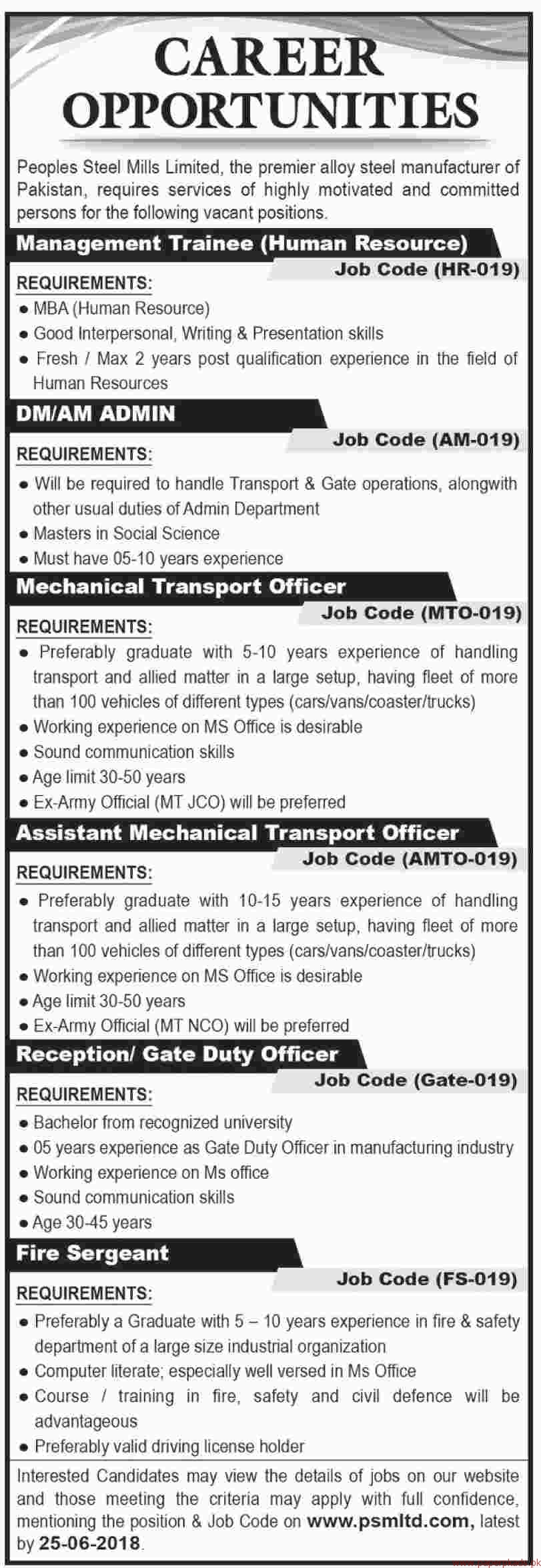 Peoples Steel Mills Limited Jobs 2018