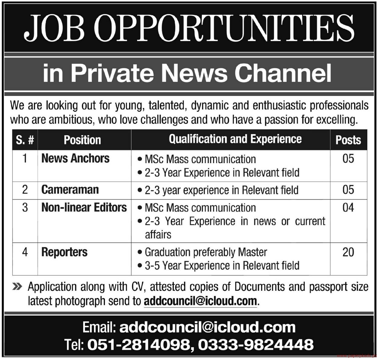 Private News Channel Staff Required