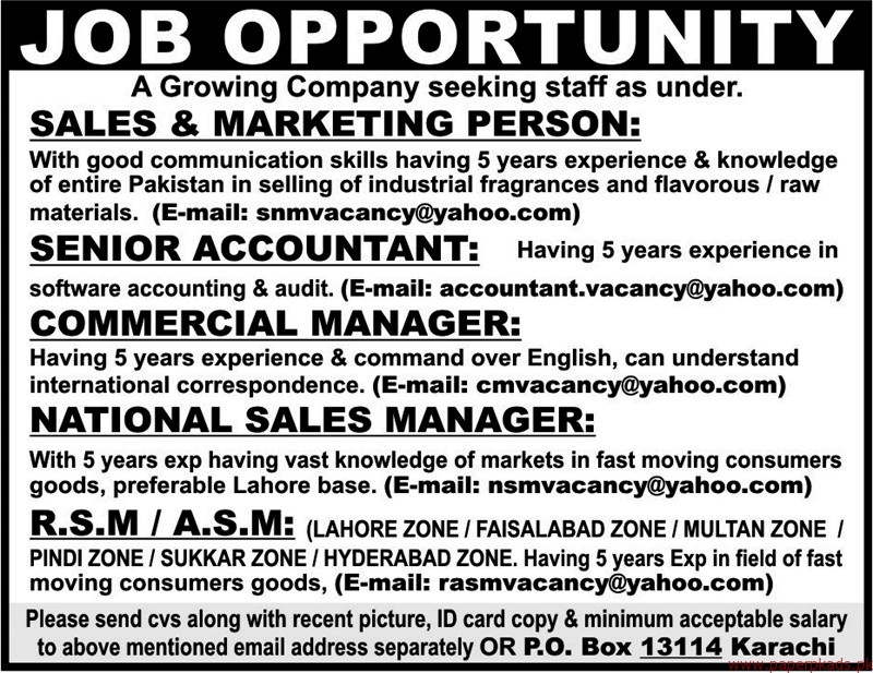 Sales & Marketing Persons Senior Accountant and Other Jobs
