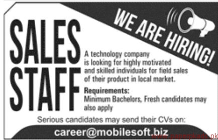 Sales Staff Required for Technology Company