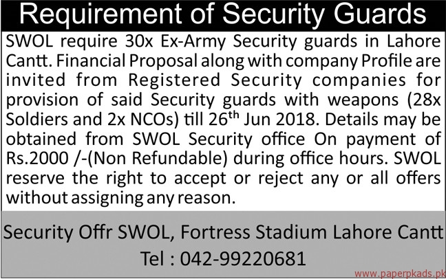 Security Guards Required for Lahore Cantt 2018