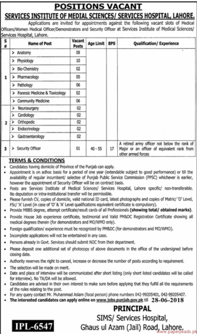 Services Institute of Medical Sciences or Services Hospital Lahore Jobs 2018 Latest